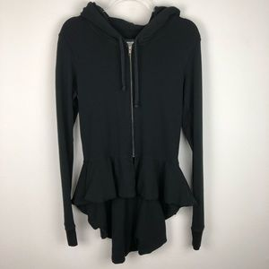 AIKO Black Peplum Zip Up Hoodie Sweatshirt Size M